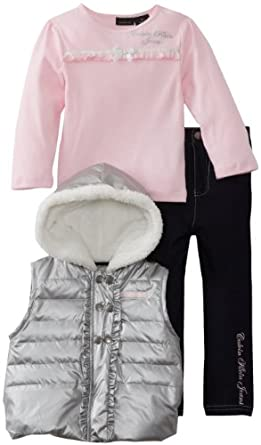 Calvin Klein Little Girls' Puffy Hooded Jacket With Pink Tee And Jean, Gray, 2T