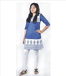 Glimmerra Women's Cotton Kurti (Kurti001Bybl_Blue_40)