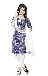 Minu Suits Cotton Unstiched Dress Material New Blue