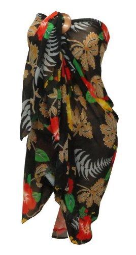 La Leela Allover Black Floral Printed Sarong Wrap Orange