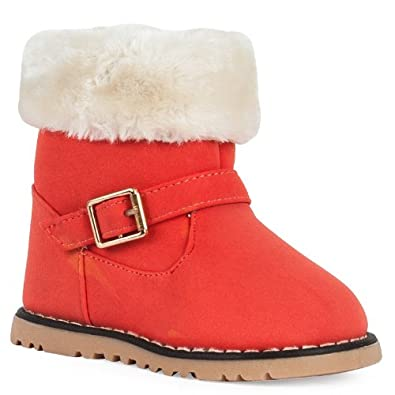 71C Girls Coral Orange Faux Leather Fur Winter Snow Toddlers Over The Ankle Boots Size EU 22