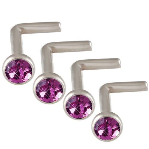 18g 18 gauge 1mm 7mm Steel nose rings studs screws bones bars Amethyst Crystals DAGA Body Piercing Jewellery 4Pcs