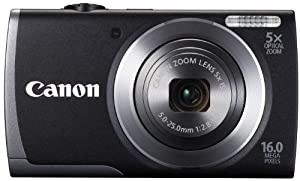 Canon PowerShot A3500 IS Camera with Wi-Fi - Black (16MP, 28mm Wide Angle, 5x Optical Zoom) 3.0 inch LCD