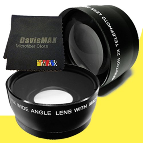 49Mm Wide Angle + 2X Telephoto Lenses For Sony Alpha Nex-5K With Sony 50Mm F/1.8 Telephoto Lens + Davismax Fibercloth Lens Bundle