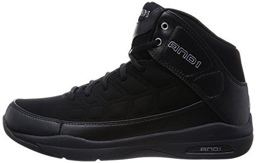AND1 Men's Coach Mid Sneaker,Black/Black,US 9.5 M