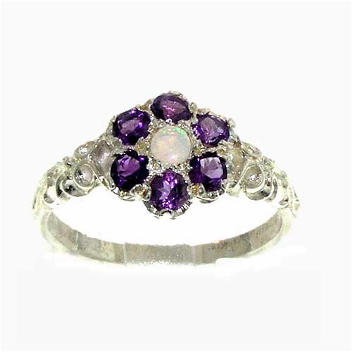 Sterling Silver Ladies 7 Stone Natural Opal  &  Amethyst Daisy Ring - Size L - Finger Sizes L to Z Available