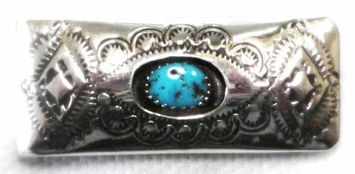 STERLING SILVER n TURQUOISE (1 Stone) Money Clip by Navajo Artist
