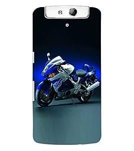 Fuson 3D Printed Suzuki Bike Designer Back Case Cover for Oppo N1 - D882