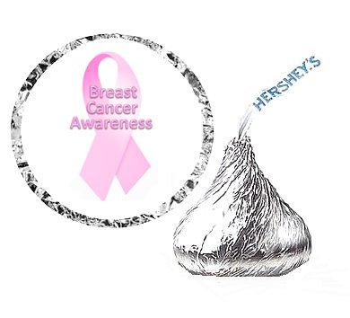 CakeSupplyShop Item#74979 - 216 Breast Cancer Party Favor Hershey's Kisses Stickers / Labels
