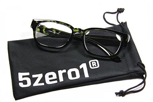 5Zero1 Retro 80's Unisex Wayfarer Rxable Prescription Ready Optical Eyewear Fashion Glasses (Classic Green Tortoise)