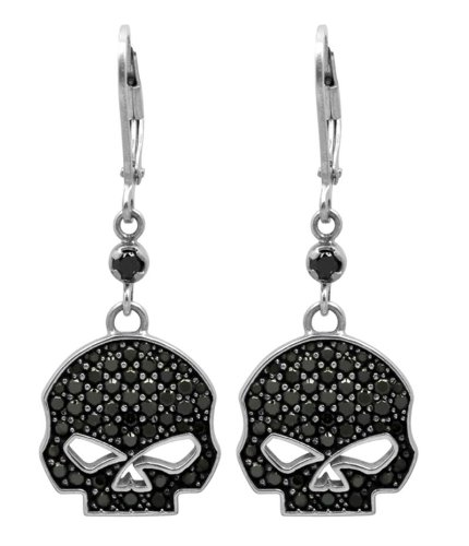 Harley-Davidson® MOD® Women's Black Bling Willie G® Skull Dangle Earrings HDE0283