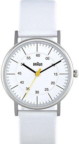 Braun Ladies Quartz 3 Hand Movement Watch with White Leather Strap
