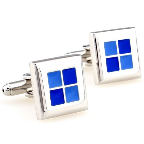 Beour White-gold-plated-silver Classic 4 Blue and Silver Copper Square Cufflinks