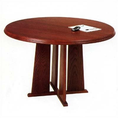 "Contemporary Series Round Gathering Table Finish: Walnut, Profile: Bevel, Size: 36"" Diameter"