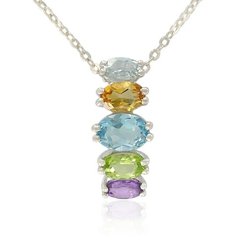 Sterling Silver Oval-Shaped Multi-Gemstone Pendant Necklace , 18.5