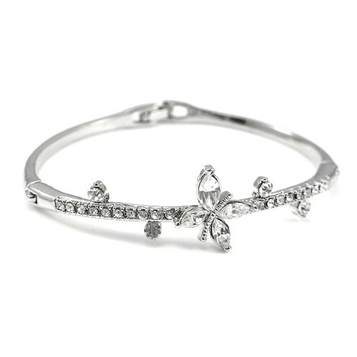 Perfect Gift - High Quality Elegant Bangle with Silver Swarovski Crystal (1534) for Birthday Anniversary Free Standard Shipment Clearance