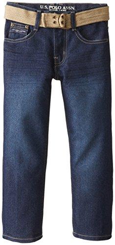 U.S. Polo Assn. Little Boys' Belted Denim Jeans, Blue Wash, 6