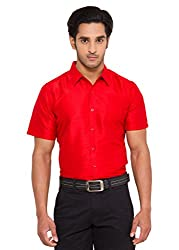 Vivyaan Red color Solid Pattern Men's party wear shirts