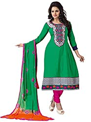 Govardhan Fashion green and pink cottan Unstitched Dress Material