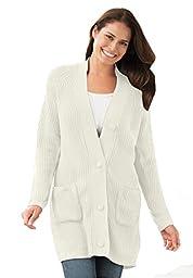 Women\'s Plus Size Cardigan In Shaker Knit Ivory,M