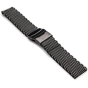 StrapsCo 24mm Matte Black PVD Shark Mesh Watch Band