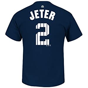 Derek Jeter New York Yankees Final Season Patch Pinstripe Jersey Name and Number Navy... by Majestic
