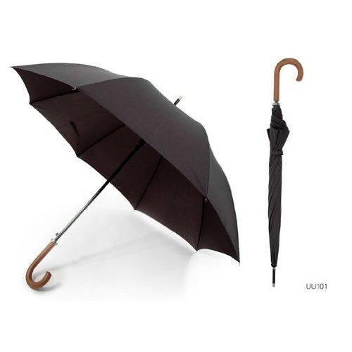 Unisex Plain Black Automatic Walking Umbrella with Wooden Handle (Premium Pongee Fabric)