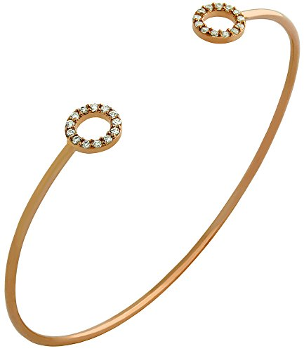 Rose Gold Plated Wire Bangle With Small Cz Rings
