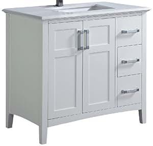 winston 36 bath vanity with quartz marble top bathroom. Black Bedroom Furniture Sets. Home Design Ideas