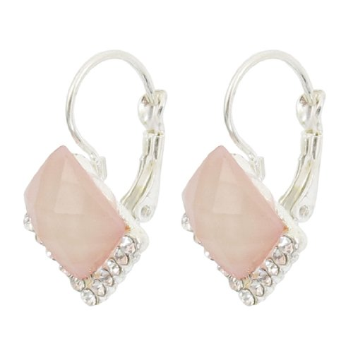 Rosallini Light Pink Rhombus Shaped Rhinestone Detail Clip Earring for Ladies