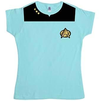 Refugeek Tees - Femmes T Shirt - Space Uniform - Small (8-10) - Light blue