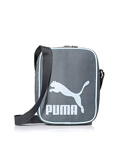 PUMA Men's Heritage Canvas Shoulder Bag, Black/Turquoise