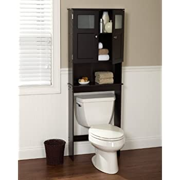 Zenna Home 9820CHBB, Bathroom Spacesaver, Espresso/Frosted Glass