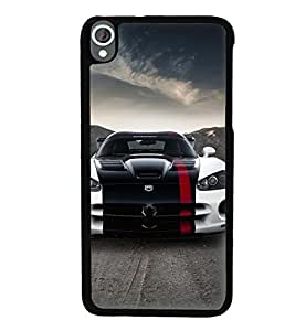 Printvisa Stylish Tricoloured Convertible Car Back Case Cover for HTC Desire 820::HTC Desire 820Q::HTC Desire 820S