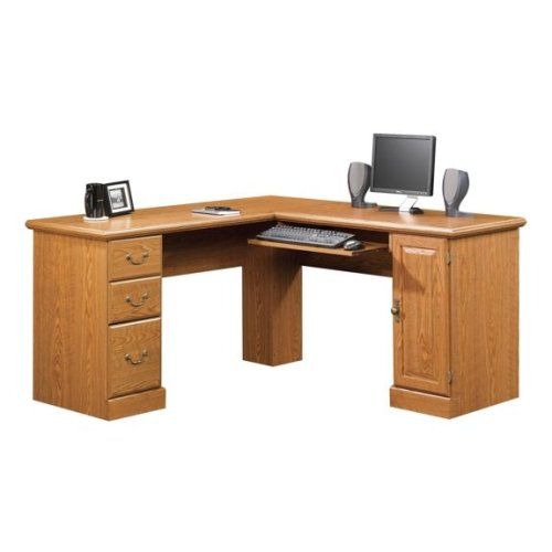 Oak Finish Corner Computer Desk