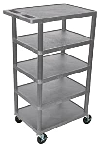 Multi-Tiered Serving Cart w 5 Shelves in Gray by Luxor Furniture