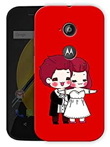 """Just Married Couple Cartoon Printed Designer Mobile Back Cover For """"Motorola Moto E2"""" By Humor Gang (3D, Matte Finish, Premium Quality, Protective Snap On Slim Hard Phone Case, Multi Color)"""