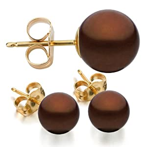14K Gold 7-8mm Chocolate Freshwater Cultured Pearl Stud Earrings