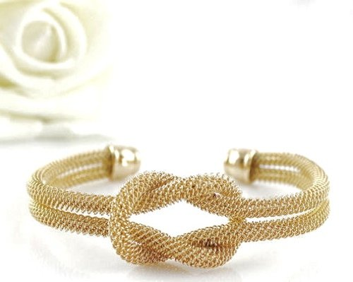 Gold Tone Twisted Tie the Love Knot Mesh Cuff Bridesmaids Bracelet Bangle