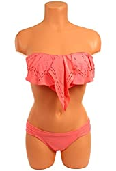 Fenical Orange Ruffled Trim Bandeau Top with Covered Panty M