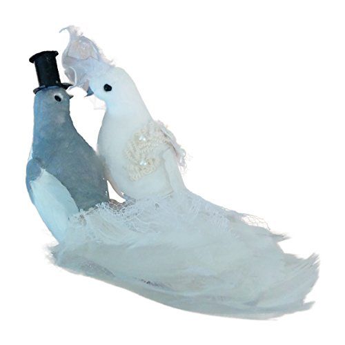 Catherine Lillywhite's Bride and Groom Wedding Feathered Bird Clip-On Ornament