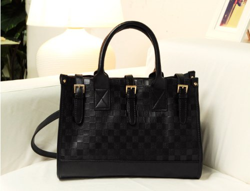 Wisedeal Fashion Elegent Black Check Pattern PU Leather Luxury Women Lady girl message shopper Hobo Tote shoulder bag purse satchel Handbag W/ Shoulder Strap
