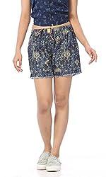 Abony Women's Blue Printed Denim Short (Size:L)