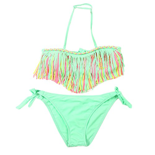 Kids Multicolored Tassels Two Piece Swimsuit for Girls