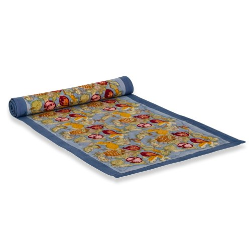 Couleur Nature 16-Inches By 90-Inches Tutti Frutti Table Runner, Blue/Red