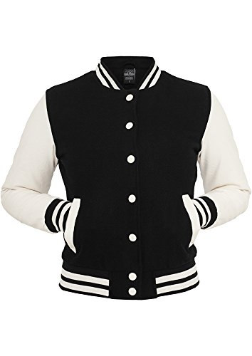 Urban Classics TB217 Ladies Oldschool College Jacket Giacca donna XS blk/wht