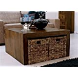 Homescapes - Dakota - Square Coffee Table 85 x 85 cm - Baskets not included - Dark - 100% Solid Mango Hard Wood - ( No Veneer ) Hand Crafted Furnitureby Homescapes