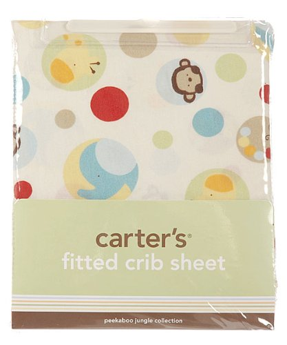 "Carter's ""Peek-a-Boo Jungle"" Fitted Crib Sheet - colors as shown, one size"