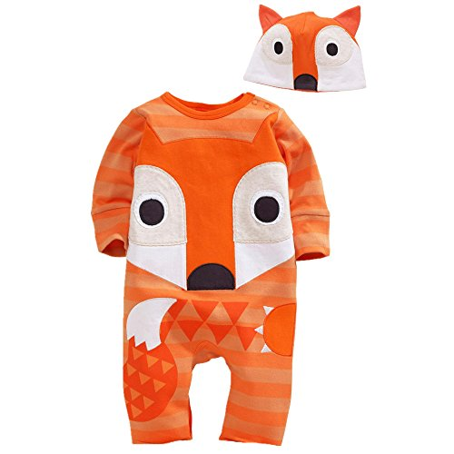 Flowerbb Baby Girl's 2 Set in 1 Cartton FOX Bodysuit+ Hat 29