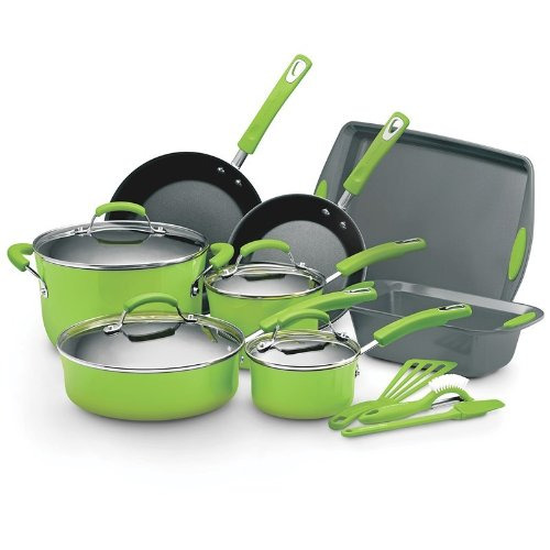 ... .com: Rachael Ray Lime Green 15 PC Cookware Set: Kitchen & Dining
